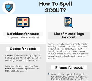 scout, spellcheck scout, how to spell scout, how do you spell scout, correct spelling for scout
