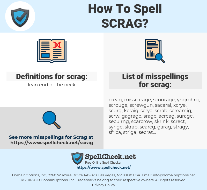 scrag, spellcheck scrag, how to spell scrag, how do you spell scrag, correct spelling for scrag