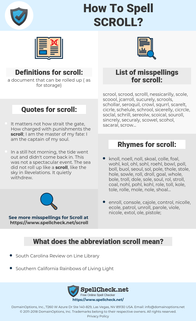 scroll, spellcheck scroll, how to spell scroll, how do you spell scroll, correct spelling for scroll