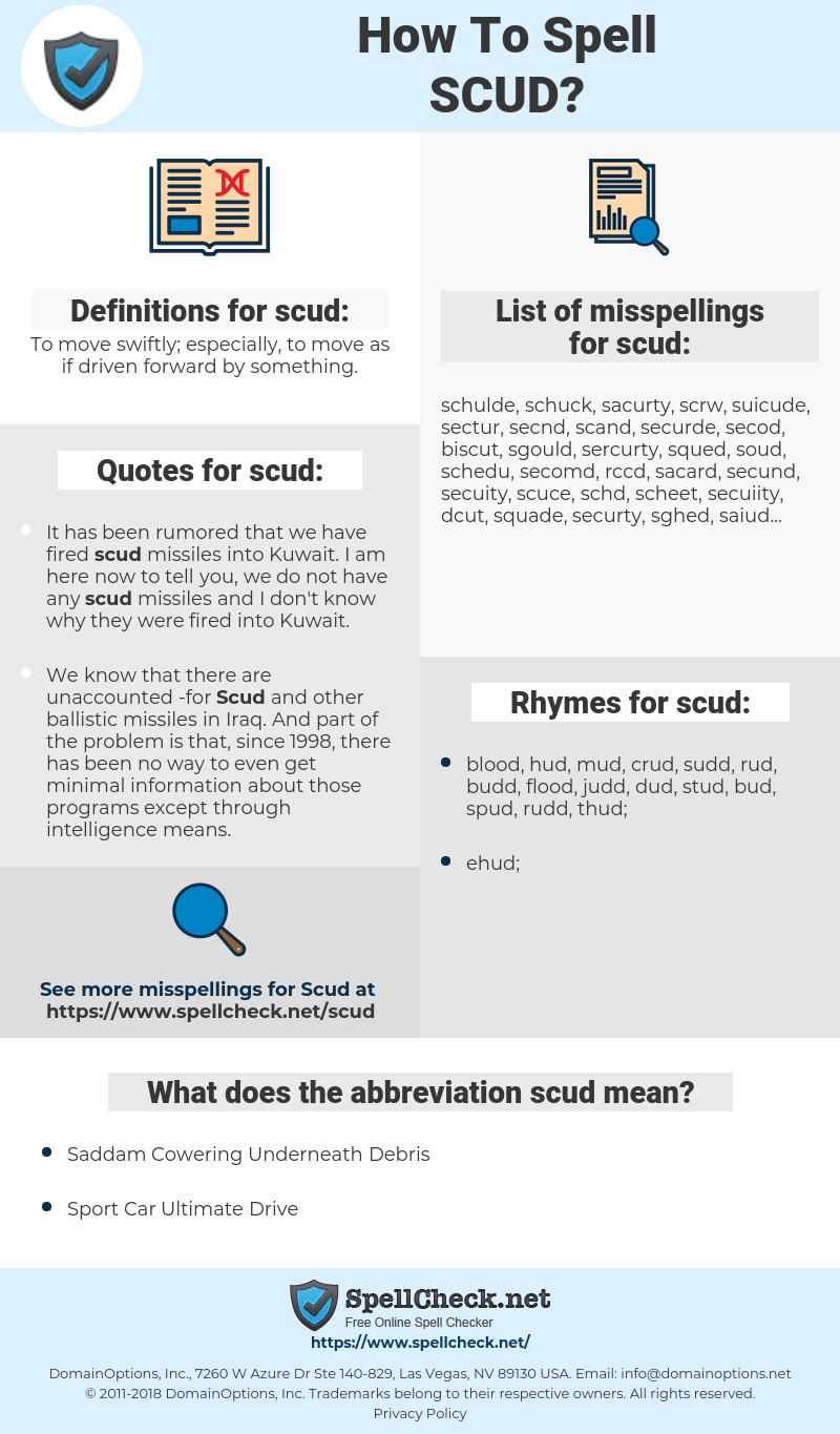 scud, spellcheck scud, how to spell scud, how do you spell scud, correct spelling for scud
