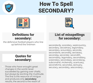 secondary, spellcheck secondary, how to spell secondary, how do you spell secondary, correct spelling for secondary