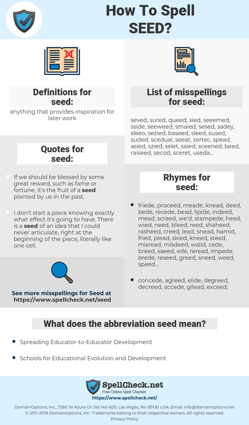 seed, spellcheck seed, how to spell seed, how do you spell seed, correct spelling for seed