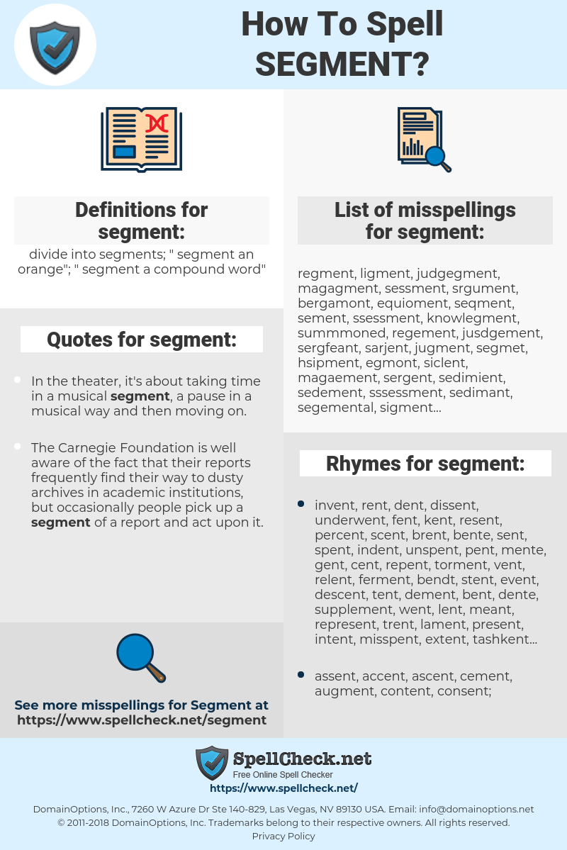 segment, spellcheck segment, how to spell segment, how do you spell segment, correct spelling for segment