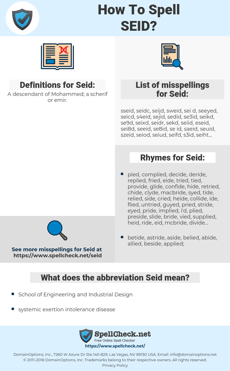 Seid, spellcheck Seid, how to spell Seid, how do you spell Seid, correct spelling for Seid