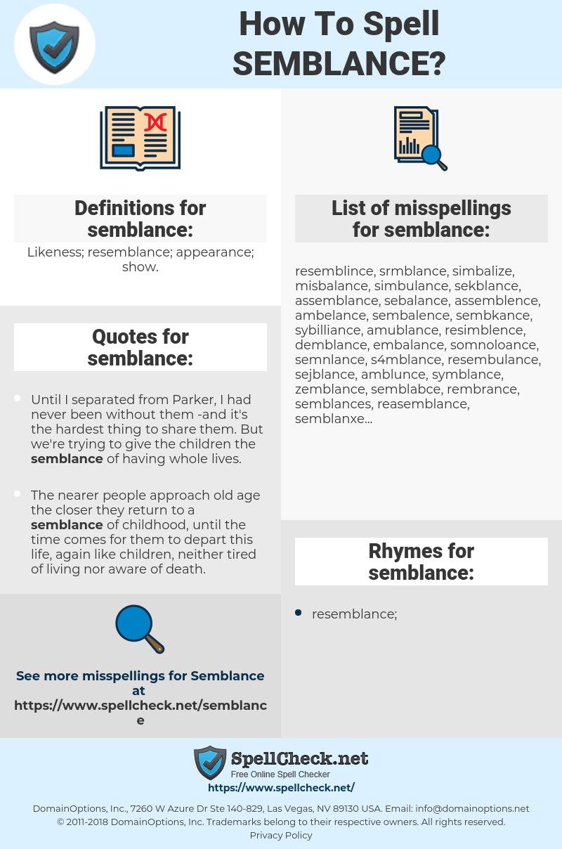 semblance, spellcheck semblance, how to spell semblance, how do you spell semblance, correct spelling for semblance