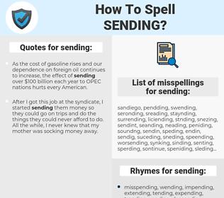 sending, spellcheck sending, how to spell sending, how do you spell sending, correct spelling for sending
