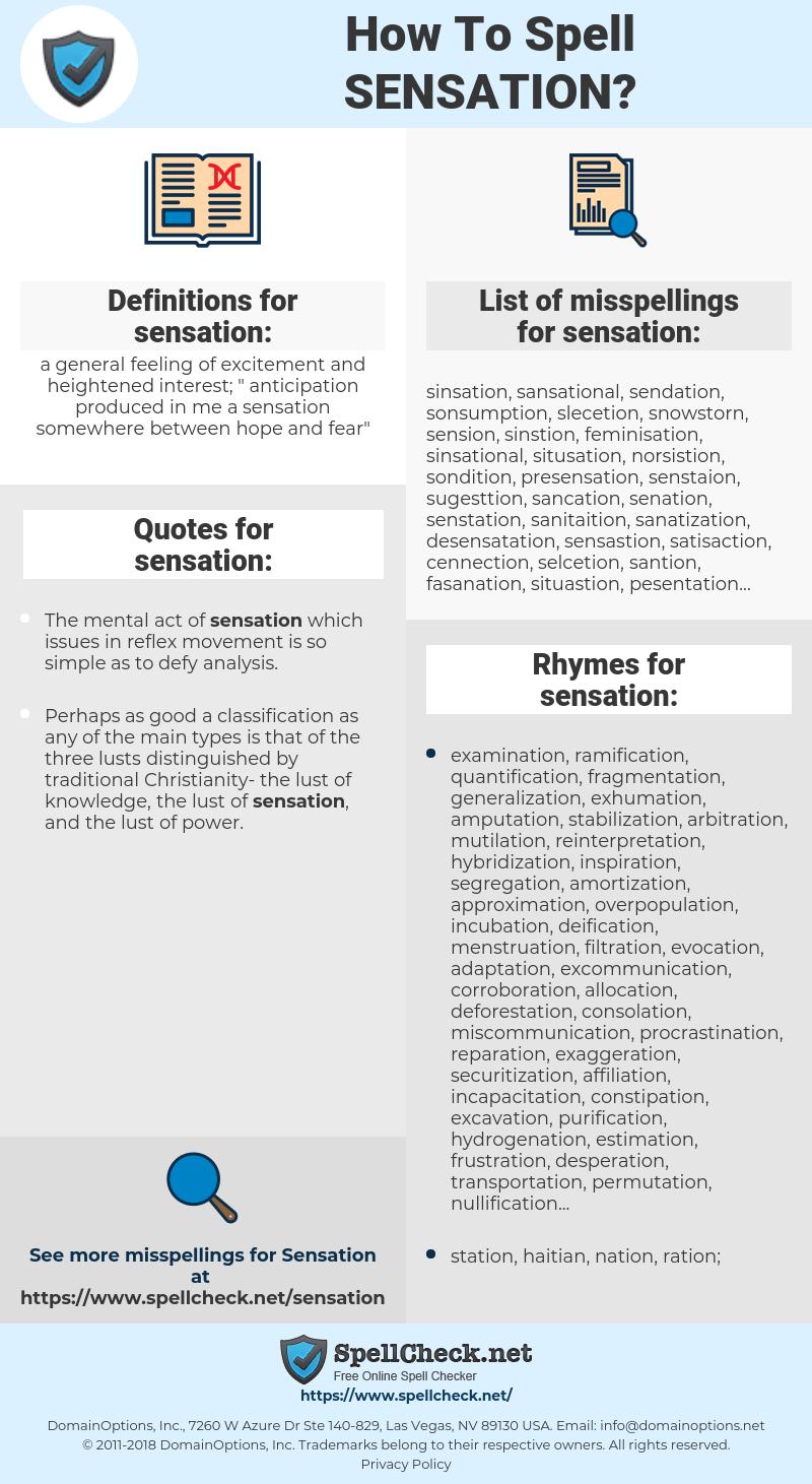 sensation, spellcheck sensation, how to spell sensation, how do you spell sensation, correct spelling for sensation