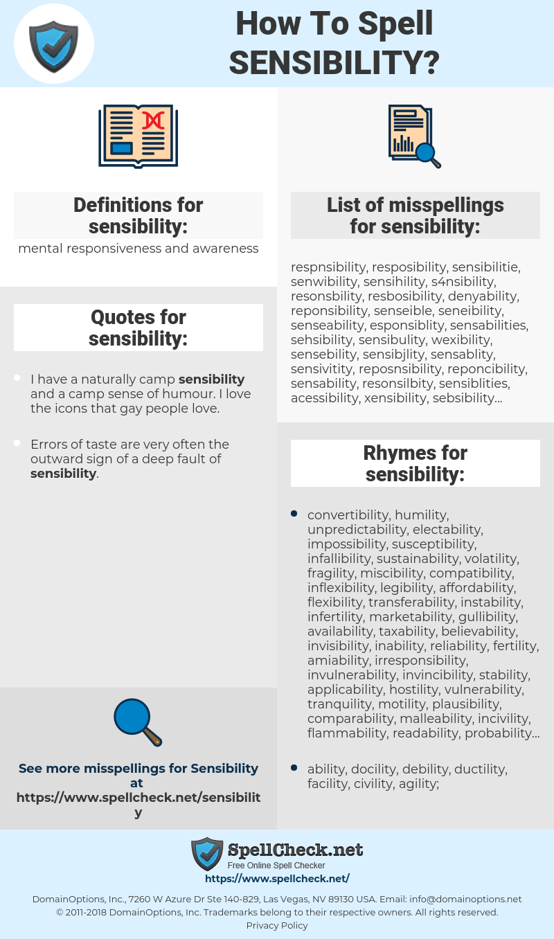 sensibility, spellcheck sensibility, how to spell sensibility, how do you spell sensibility, correct spelling for sensibility