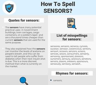 sensors, spellcheck sensors, how to spell sensors, how do you spell sensors, correct spelling for sensors