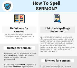sermon, spellcheck sermon, how to spell sermon, how do you spell sermon, correct spelling for sermon