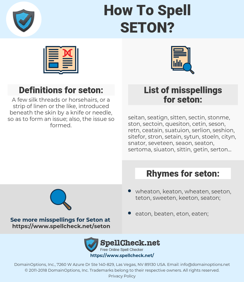 seton, spellcheck seton, how to spell seton, how do you spell seton, correct spelling for seton
