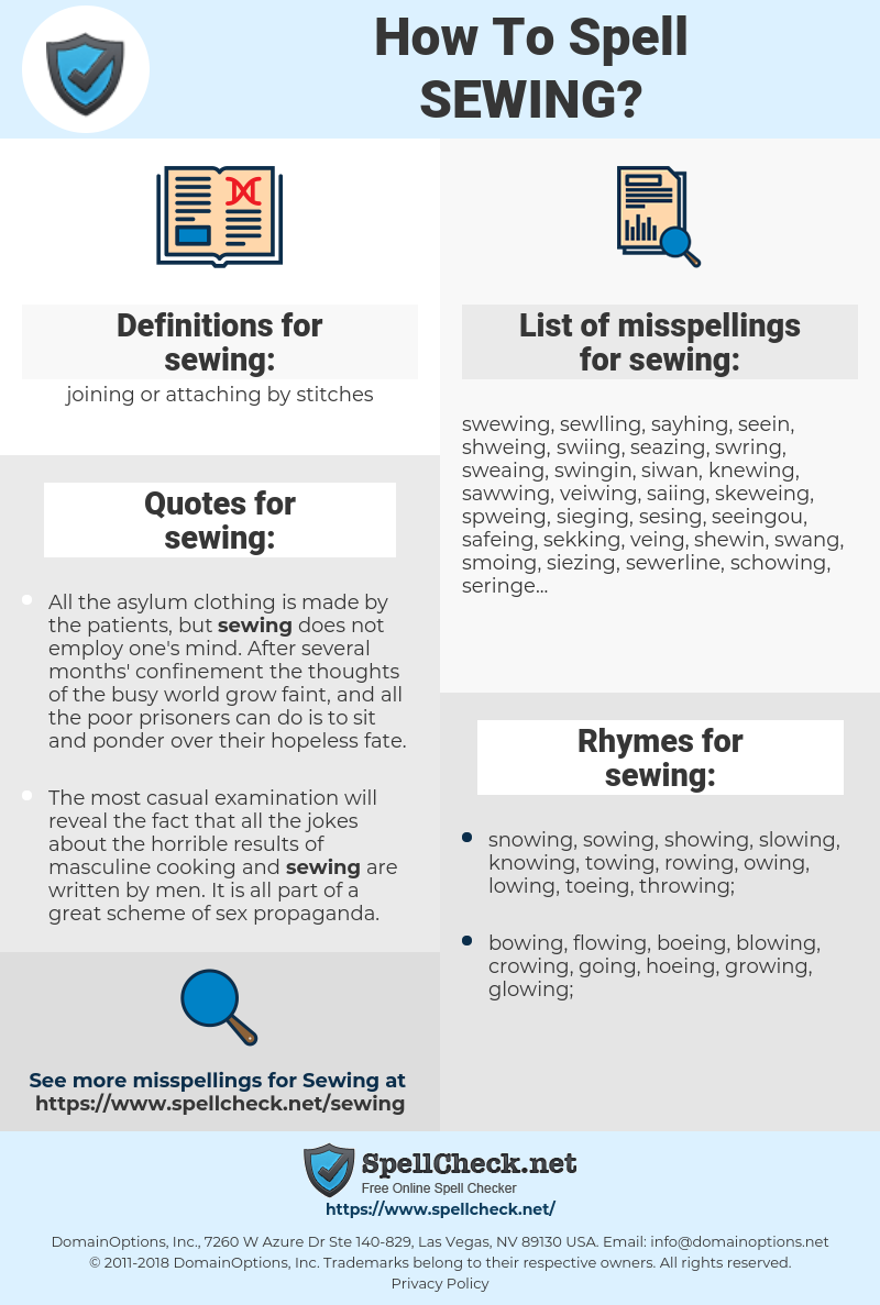 sewing, spellcheck sewing, how to spell sewing, how do you spell sewing, correct spelling for sewing
