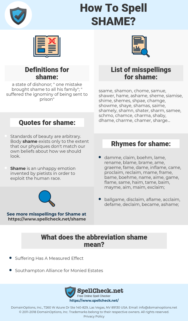 shame, spellcheck shame, how to spell shame, how do you spell shame, correct spelling for shame