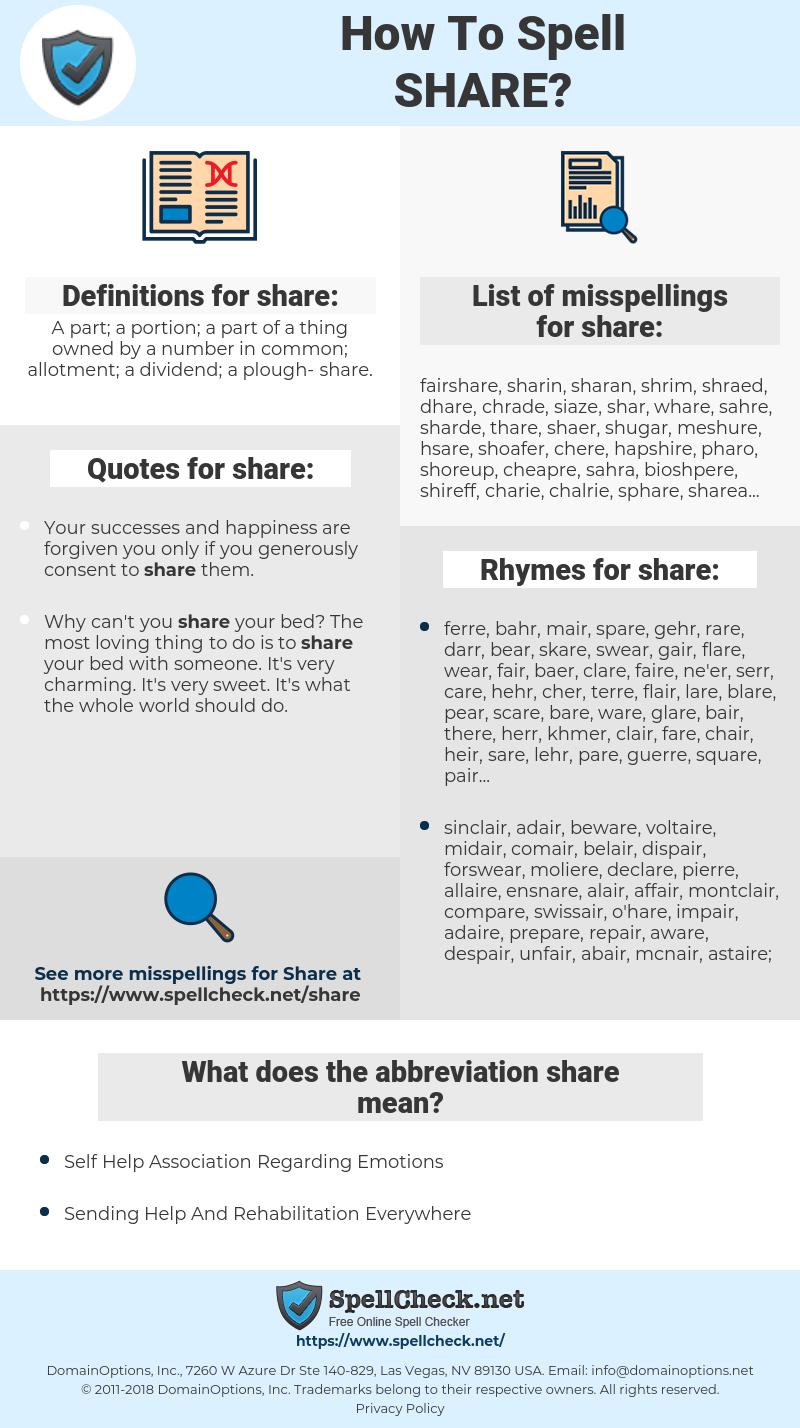 share, spellcheck share, how to spell share, how do you spell share, correct spelling for share