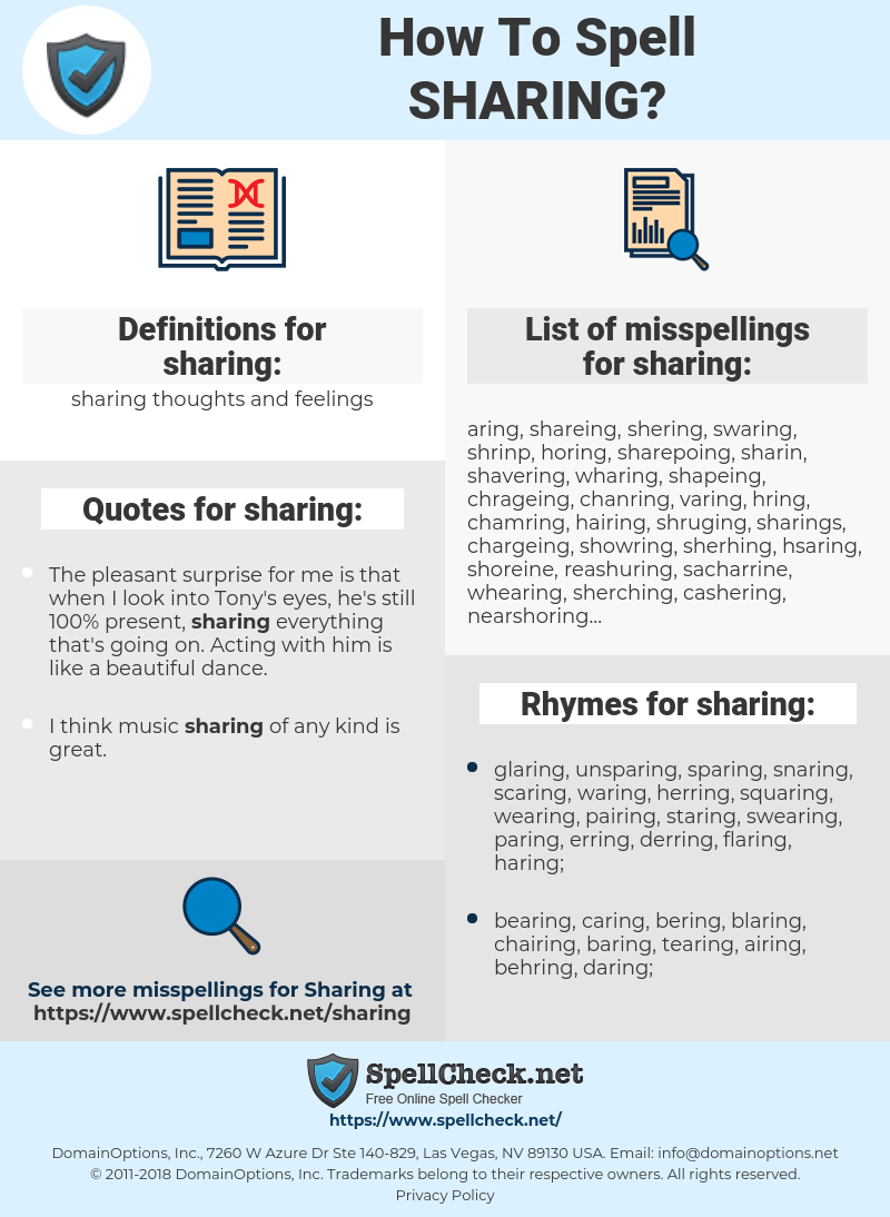 sharing, spellcheck sharing, how to spell sharing, how do you spell sharing, correct spelling for sharing