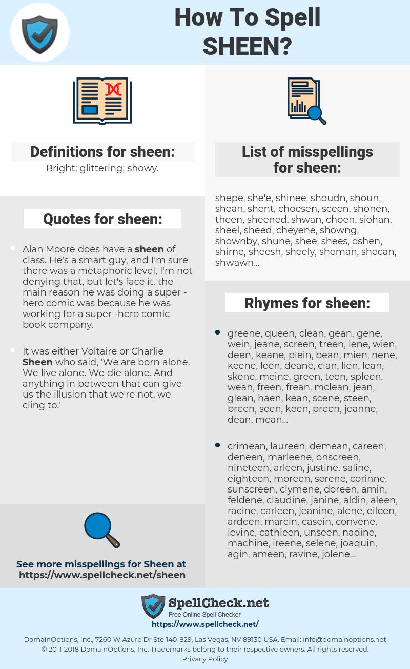 sheen, spellcheck sheen, how to spell sheen, how do you spell sheen, correct spelling for sheen