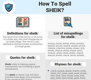 sheik, spellcheck sheik, how to spell sheik, how do you spell sheik, correct spelling for sheik
