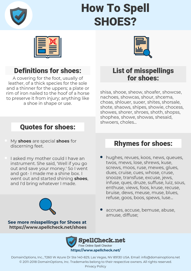 shoes, spellcheck shoes, how to spell shoes, how do you spell shoes, correct spelling for shoes