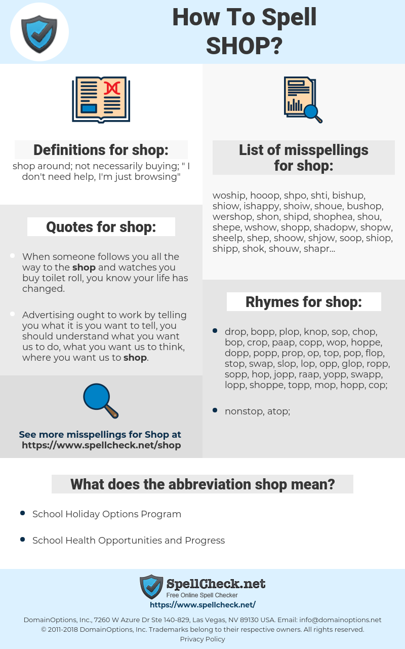 shop, spellcheck shop, how to spell shop, how do you spell shop, correct spelling for shop