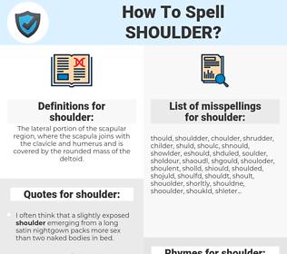 shoulder, spellcheck shoulder, how to spell shoulder, how do you spell shoulder, correct spelling for shoulder