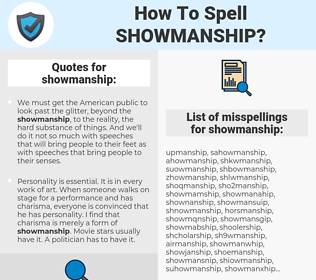 showmanship, spellcheck showmanship, how to spell showmanship, how do you spell showmanship, correct spelling for showmanship