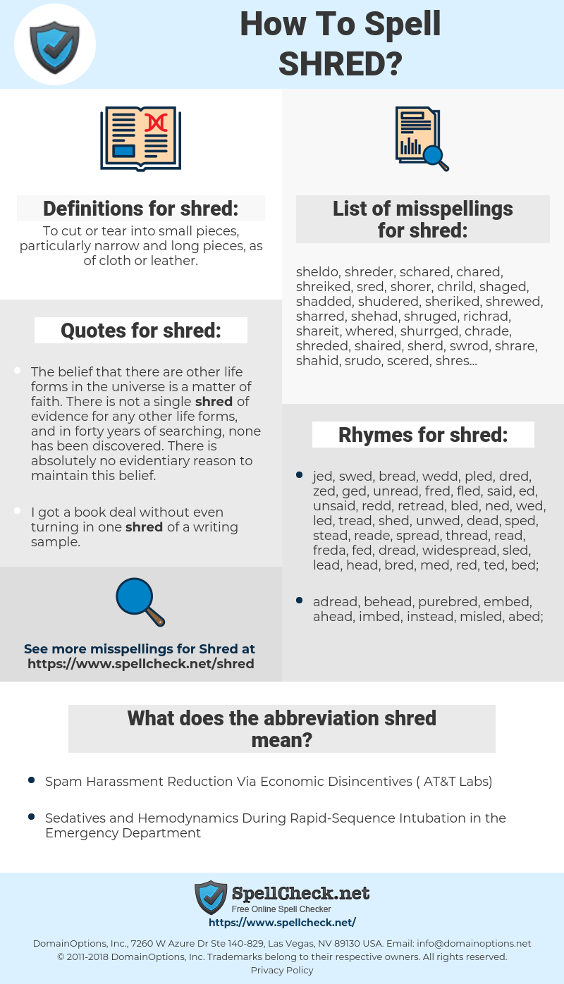 How To Spell Shred (And How To Misspell It Too) | Spellcheck net