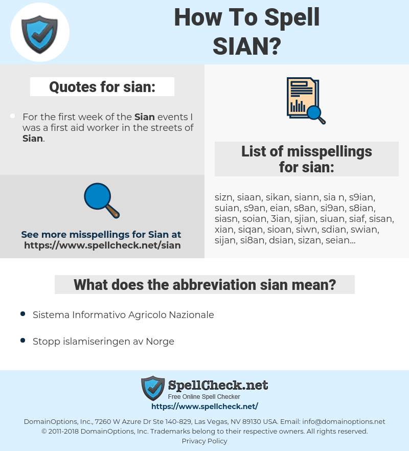 sian, spellcheck sian, how to spell sian, how do you spell sian, correct spelling for sian
