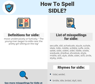sidle, spellcheck sidle, how to spell sidle, how do you spell sidle, correct spelling for sidle