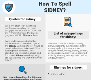 sidney, spellcheck sidney, how to spell sidney, how do you spell sidney, correct spelling for sidney