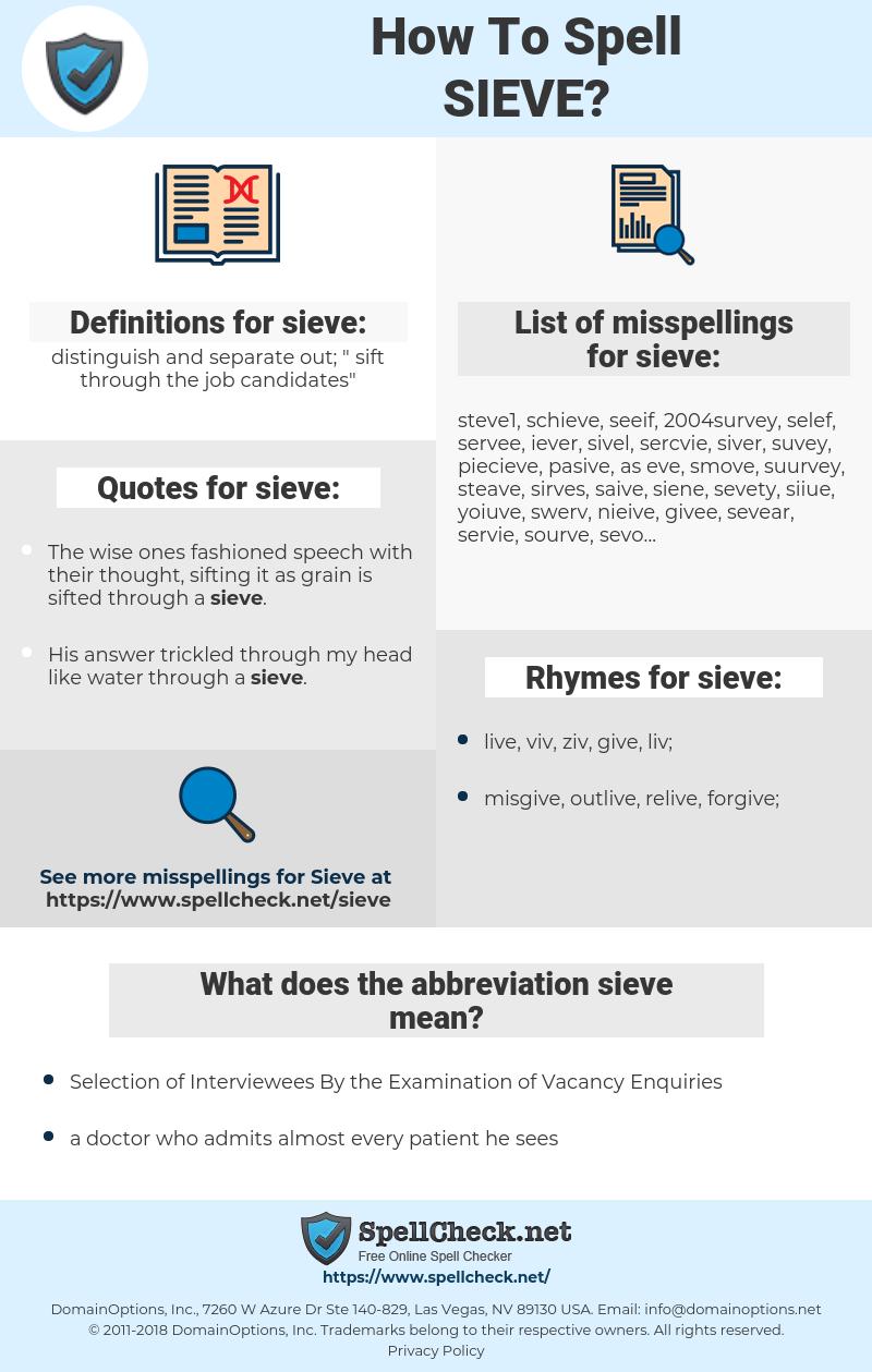 sieve, spellcheck sieve, how to spell sieve, how do you spell sieve, correct spelling for sieve