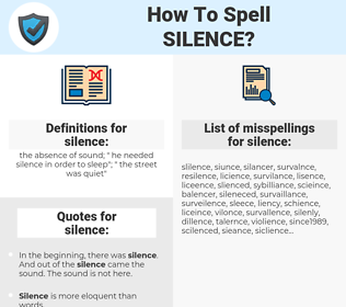 silence, spellcheck silence, how to spell silence, how do you spell silence, correct spelling for silence