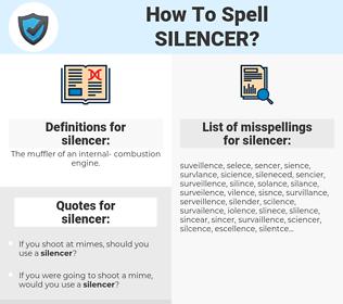 silencer, spellcheck silencer, how to spell silencer, how do you spell silencer, correct spelling for silencer