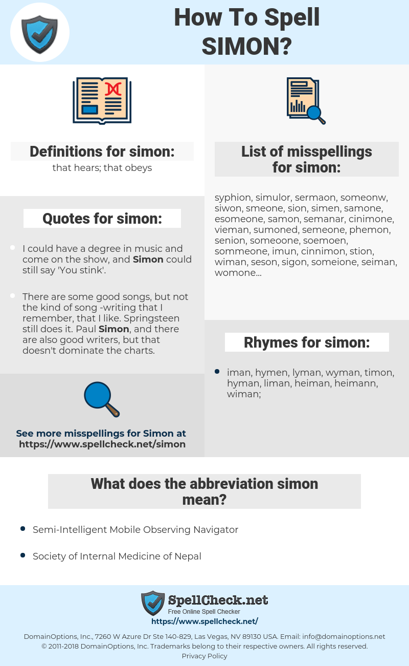 simon, spellcheck simon, how to spell simon, how do you spell simon, correct spelling for simon