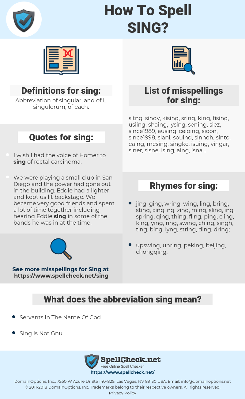 sing, spellcheck sing, how to spell sing, how do you spell sing, correct spelling for sing