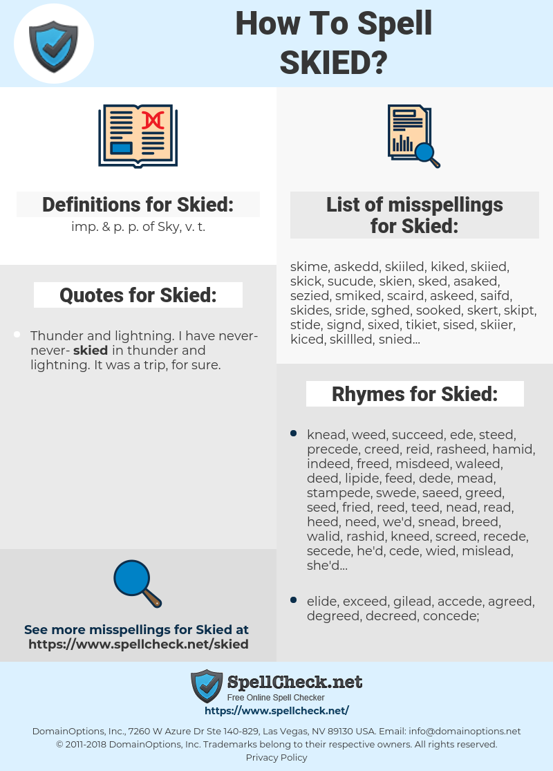 Skied, spellcheck Skied, how to spell Skied, how do you spell Skied, correct spelling for Skied