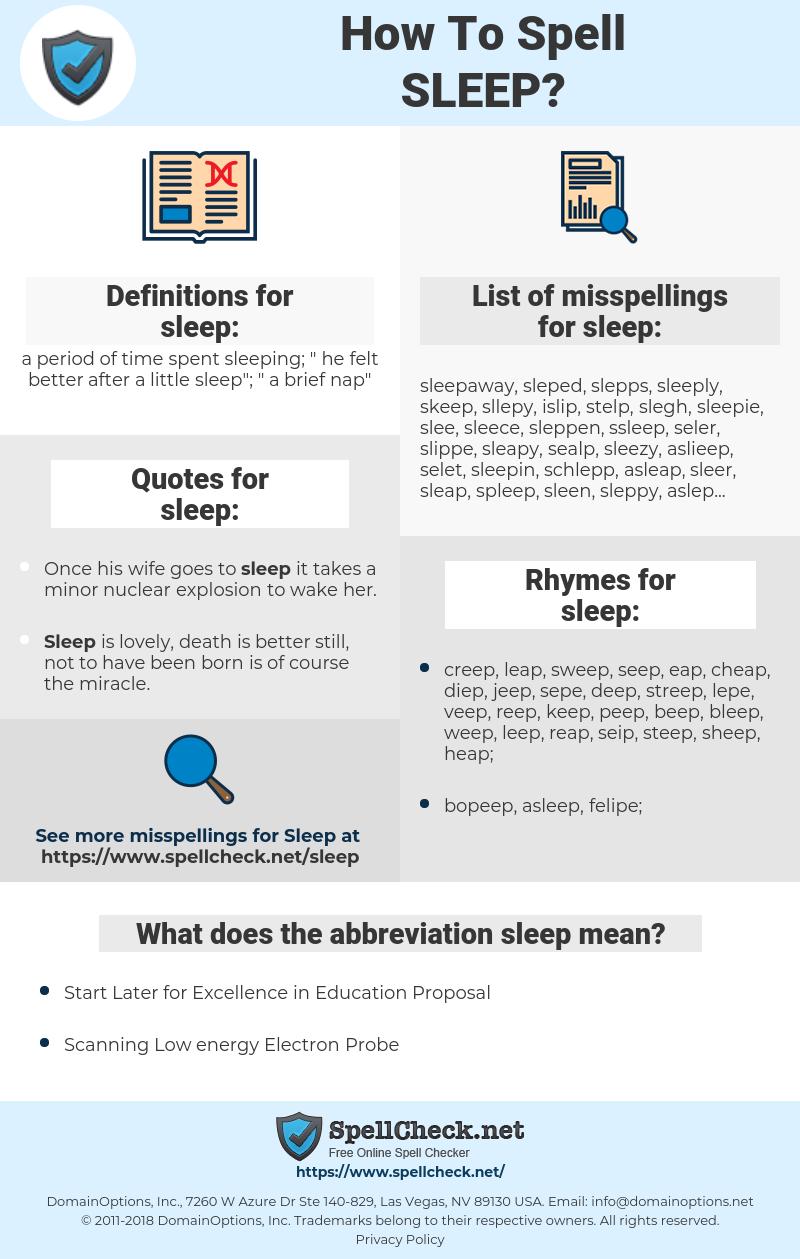 sleep, spellcheck sleep, how to spell sleep, how do you spell sleep, correct spelling for sleep