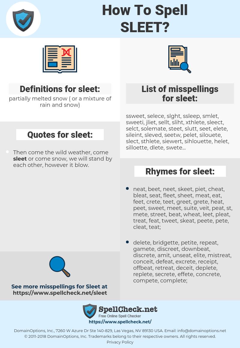 sleet, spellcheck sleet, how to spell sleet, how do you spell sleet, correct spelling for sleet