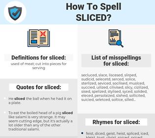 sliced, spellcheck sliced, how to spell sliced, how do you spell sliced, correct spelling for sliced