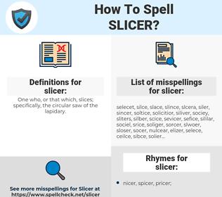 slicer, spellcheck slicer, how to spell slicer, how do you spell slicer, correct spelling for slicer
