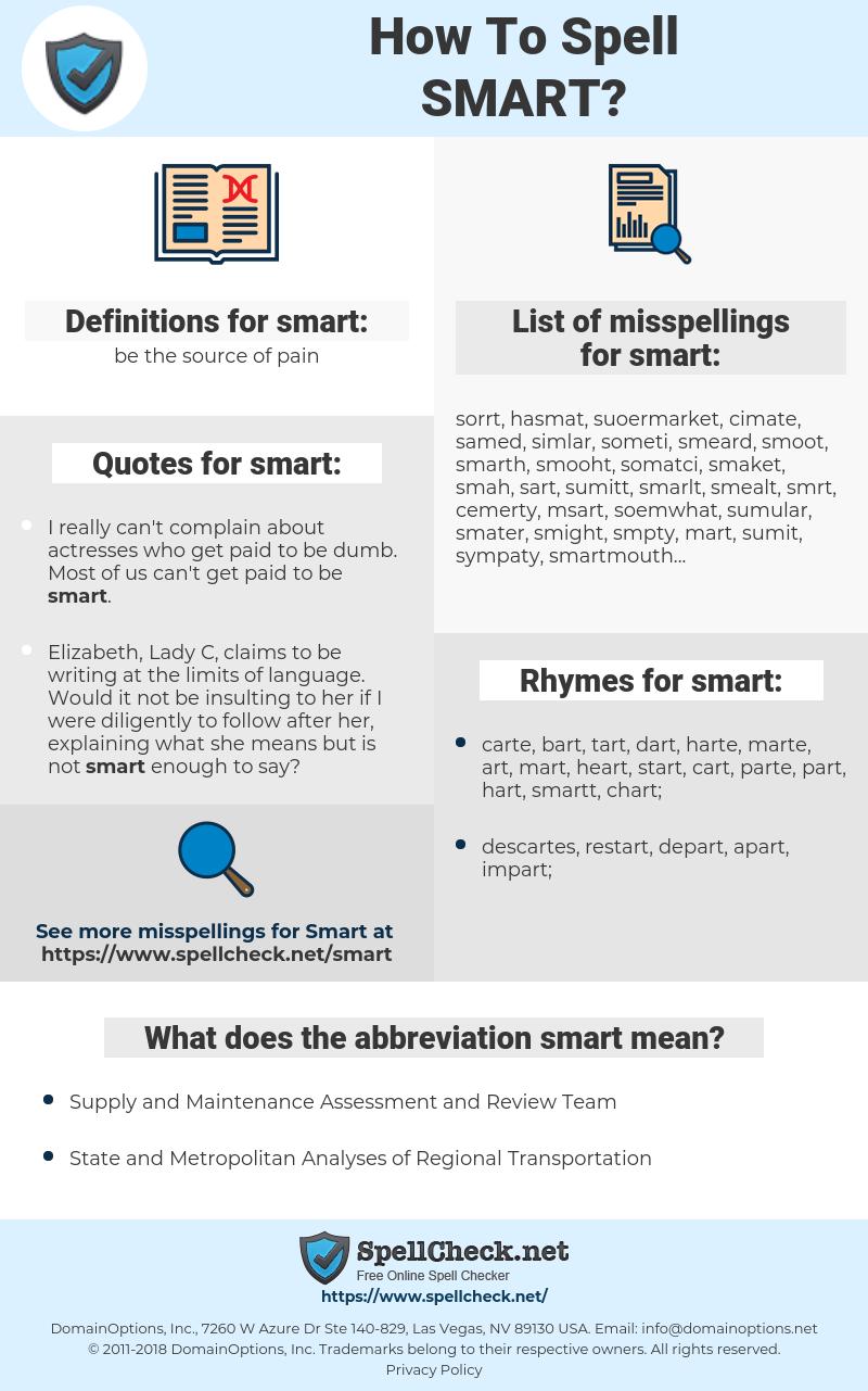 smart, spellcheck smart, how to spell smart, how do you spell smart, correct spelling for smart