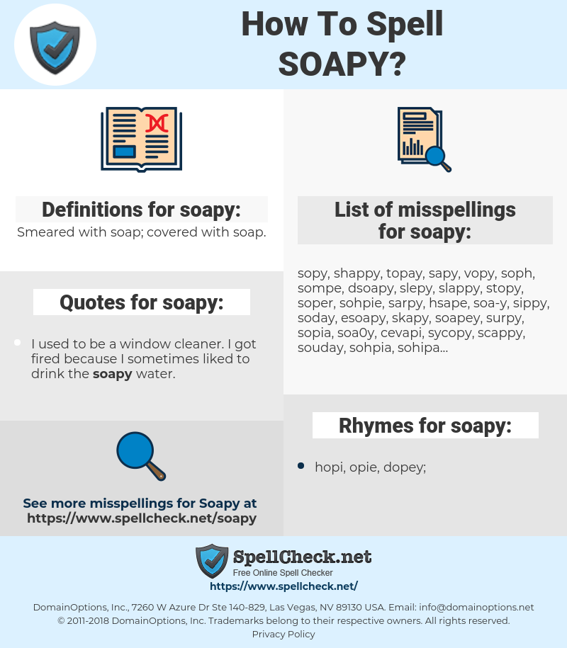 How To Spell Soapy (And How To Misspell It Too) | Spellcheck net