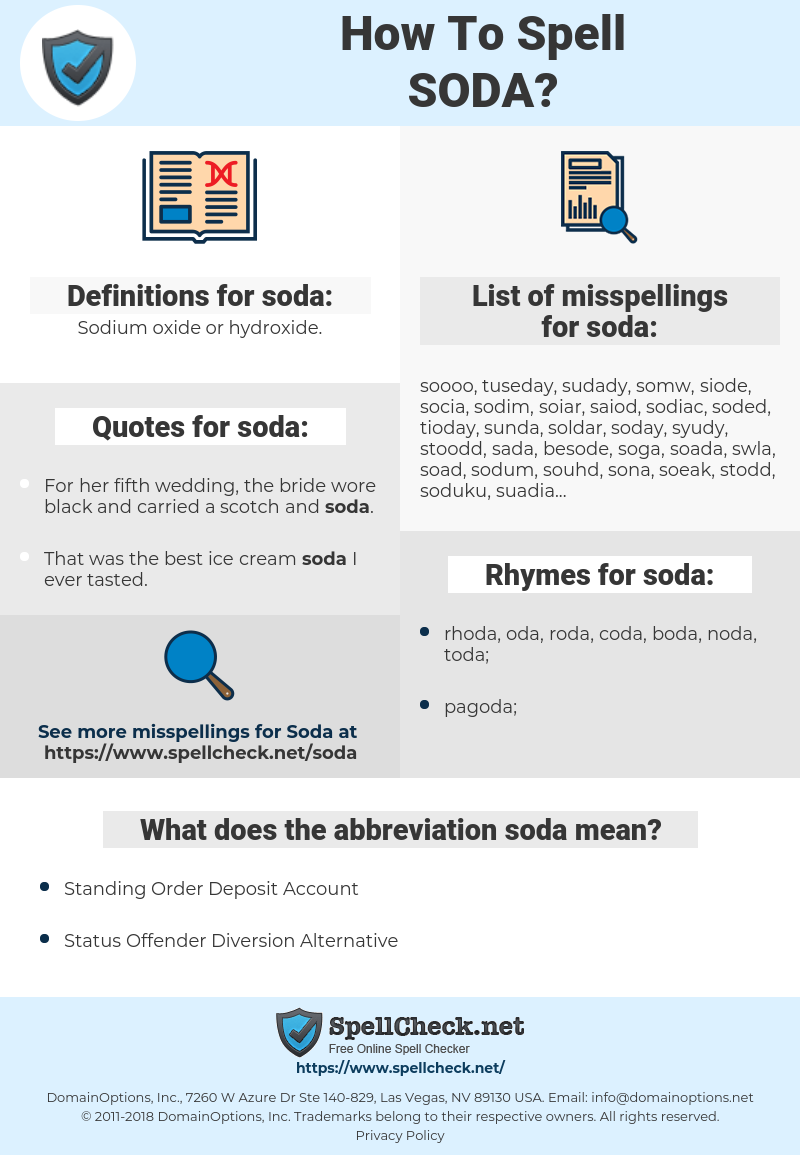 soda, spellcheck soda, how to spell soda, how do you spell soda, correct spelling for soda