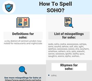 soho, spellcheck soho, how to spell soho, how do you spell soho, correct spelling for soho