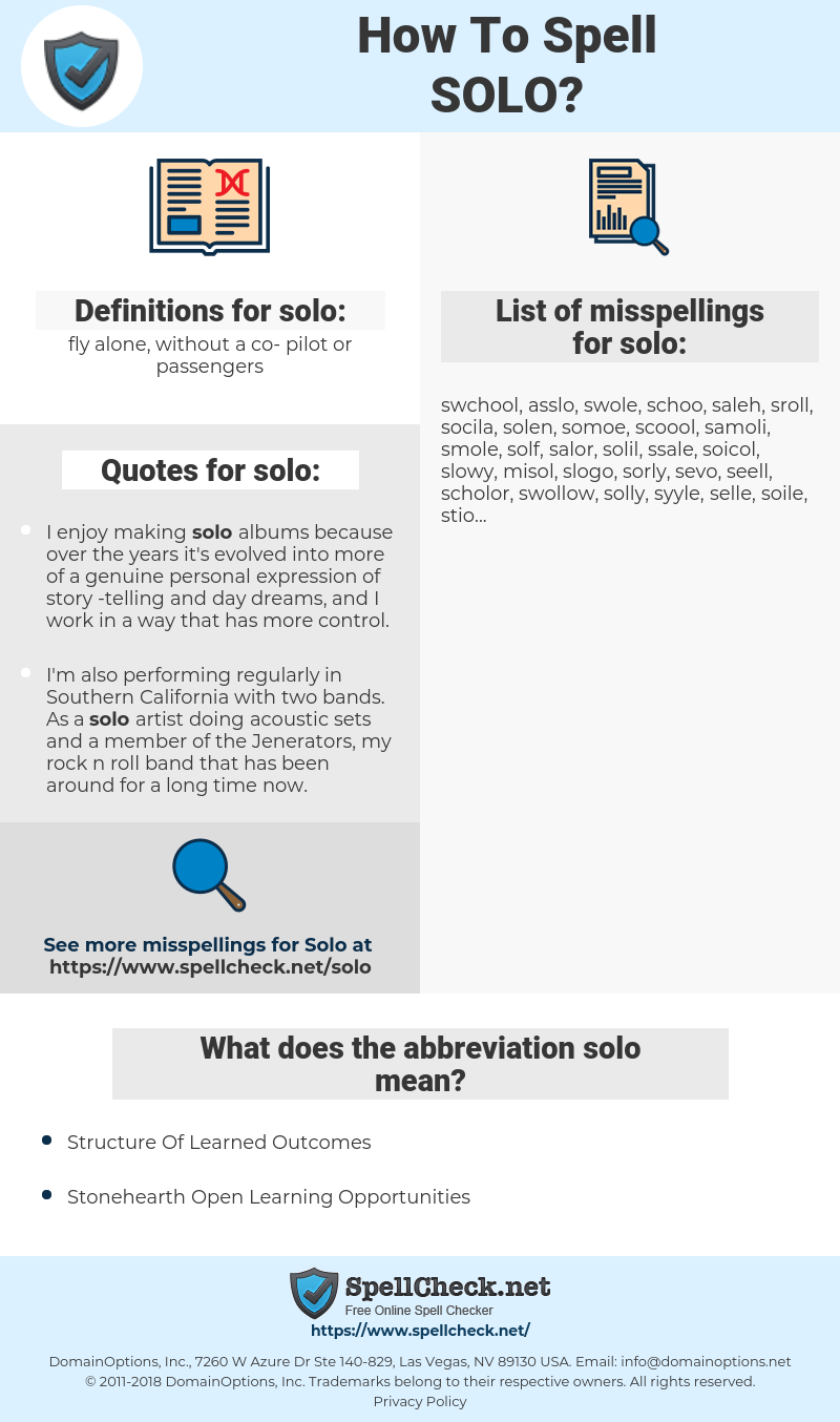 solo, spellcheck solo, how to spell solo, how do you spell solo, correct spelling for solo