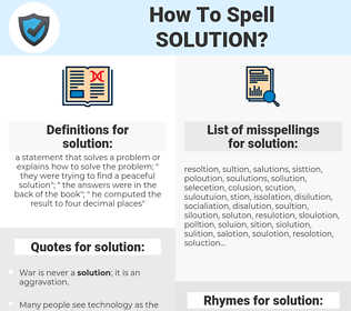 solution, spellcheck solution, how to spell solution, how do you spell solution, correct spelling for solution