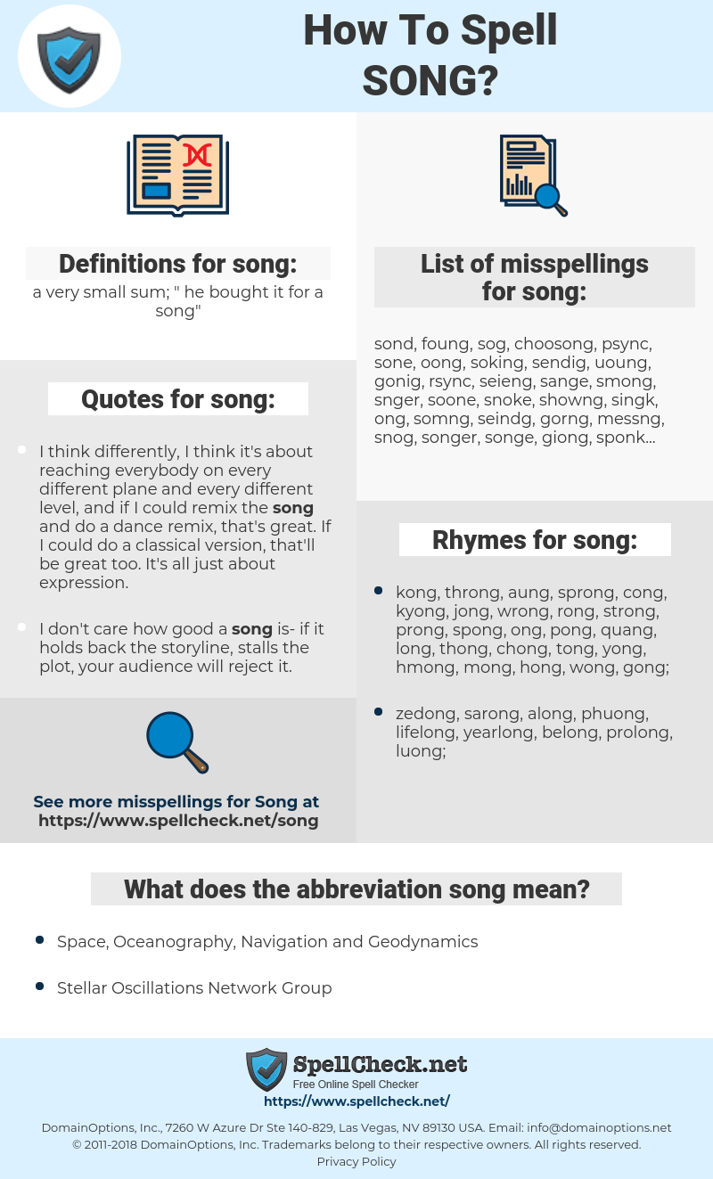 song, spellcheck song, how to spell song, how do you spell song, correct spelling for song