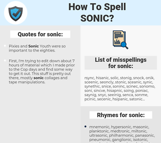 sonic, spellcheck sonic, how to spell sonic, how do you spell sonic, correct spelling for sonic