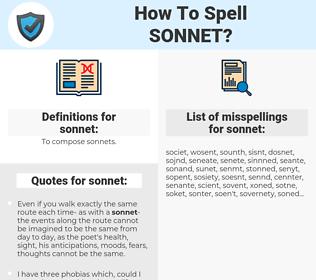sonnet, spellcheck sonnet, how to spell sonnet, how do you spell sonnet, correct spelling for sonnet