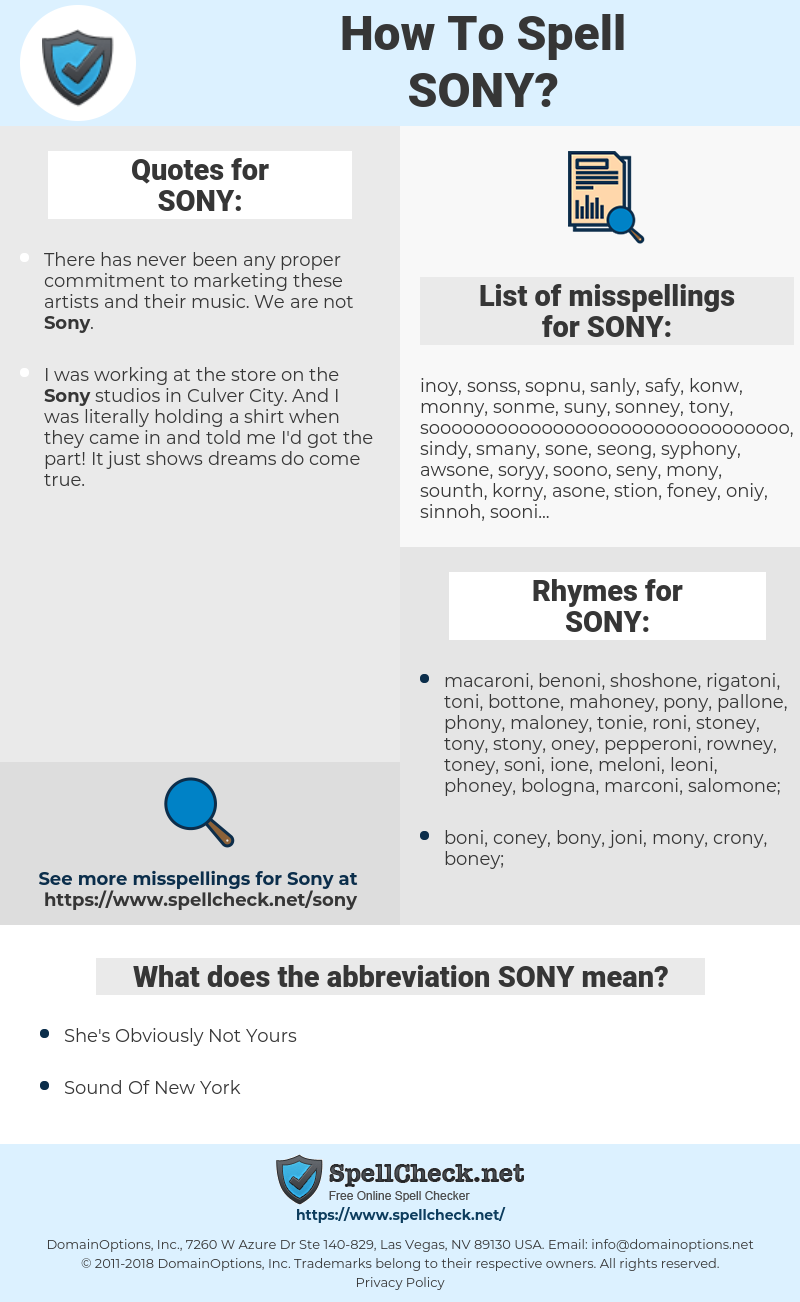 SONY, spellcheck SONY, how to spell SONY, how do you spell SONY, correct spelling for SONY