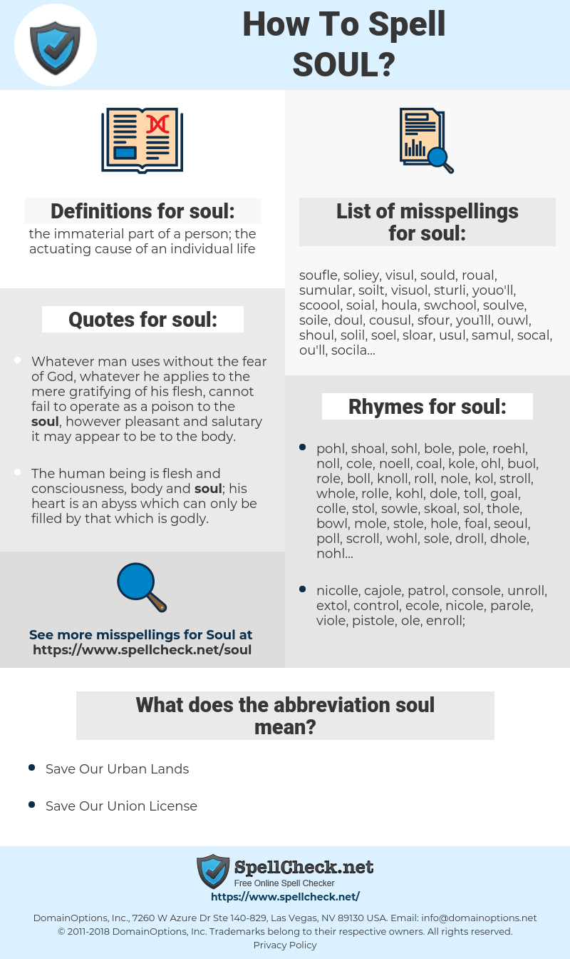 soul, spellcheck soul, how to spell soul, how do you spell soul, correct spelling for soul